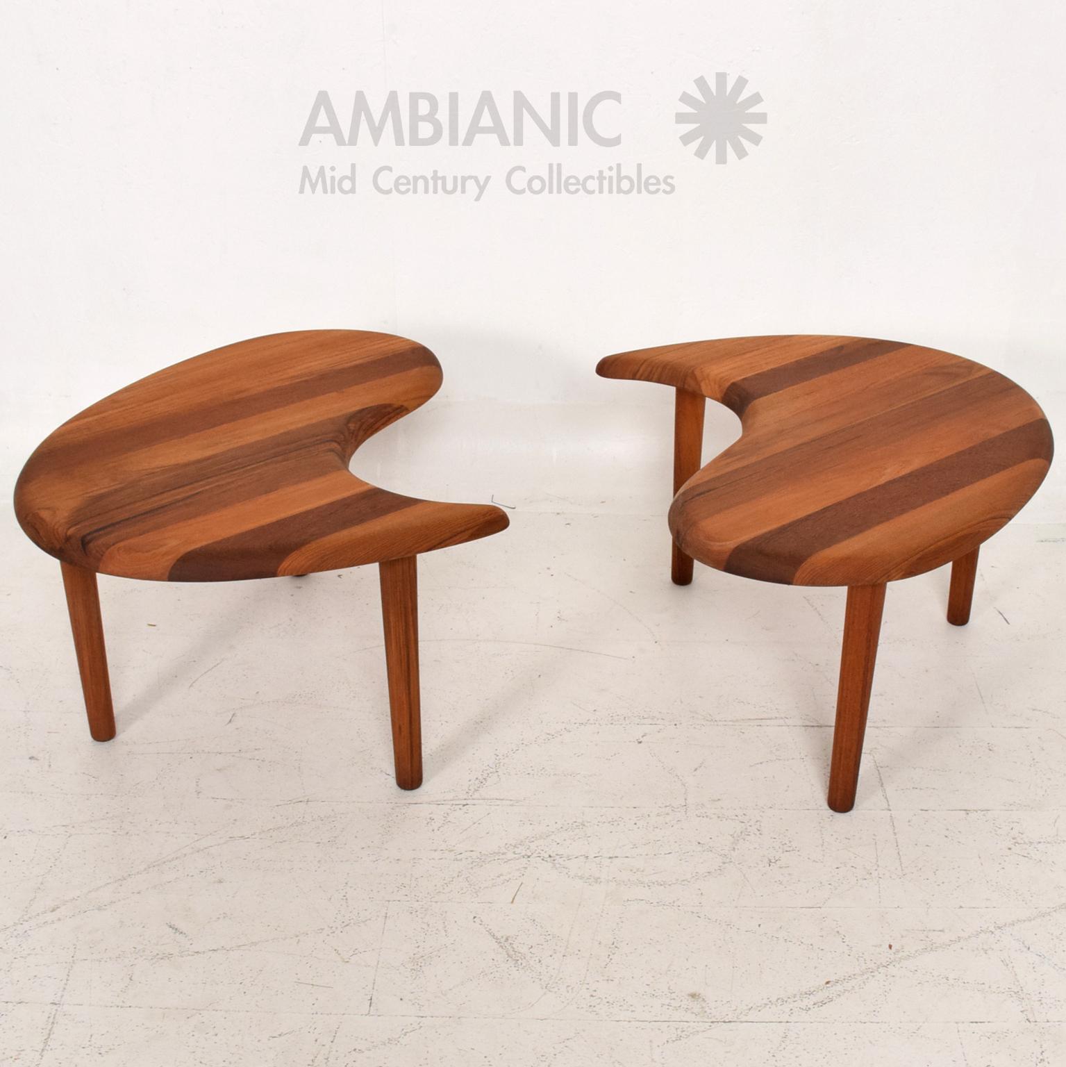 Teak Scandinavian Mid Century Modern Solid Teak Side Tables Coffee Table  For Sale   Image 7