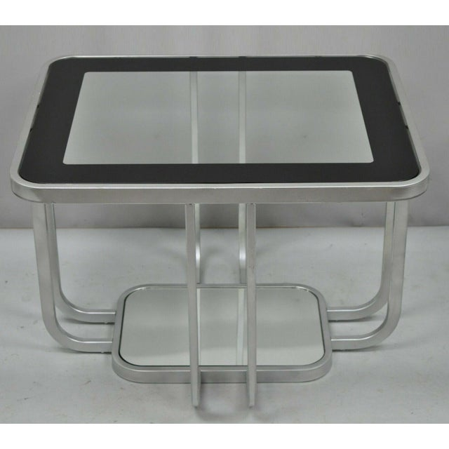 20th Century Art Deco Style 2 Tiered Metal & Glass Side End Table For Sale - Image 12 of 12