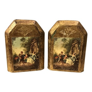 Italian Florentine Gold Gilt Bookends - a Pair For Sale