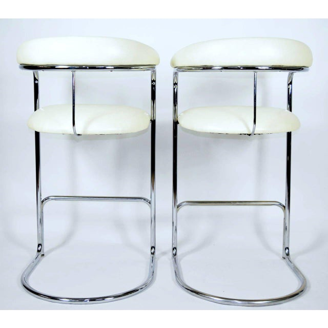 Early 20th Century Thonet Attributed Barstools in New Duralee Upholstery - A Pair For Sale - Image 5 of 7
