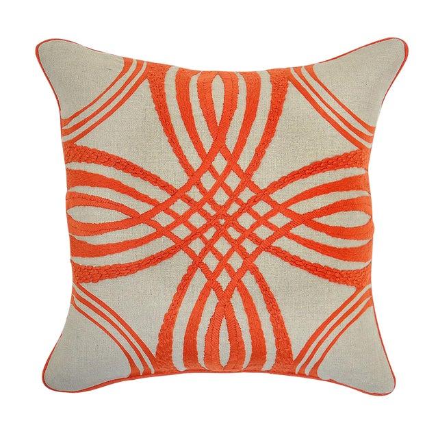 Orange & Beige Linen Pillow - Image 1 of 2