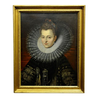 After Rubens -Portrait of Isabella, Archduchess of Austria-18th C. Oil Painting For Sale