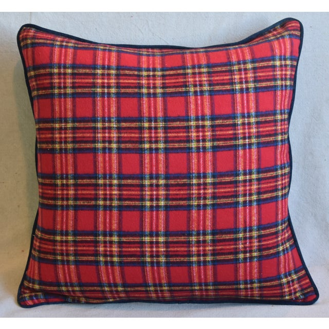 Custom-tailored pillow in red, blue and yellow cotton tartan plaid fabric. Blue cotton velvet back. Custom-tailored cord...