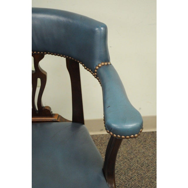 Vintage Ephraim Marsh Chippendale Blue Leather & Mahogany Library Office Arm Chair - Image 7 of 11