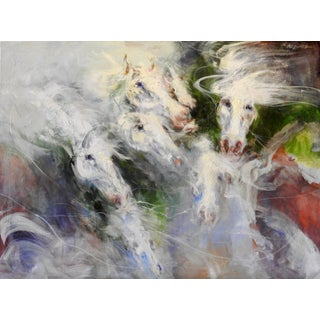 """Oil Painting, Whites, Greens, Red, """"V Horse Profiles Shown in Various Directions"""" For Sale"""