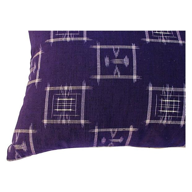 Asian Japanese Ikat Indigo Pillows - Pair For Sale - Image 3 of 5