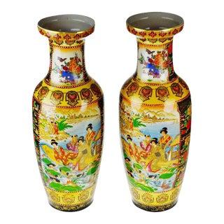 Vintage Large Hand Painted Royal Satsuma Japanese Moriage Porcelain Vases - a Pair For Sale