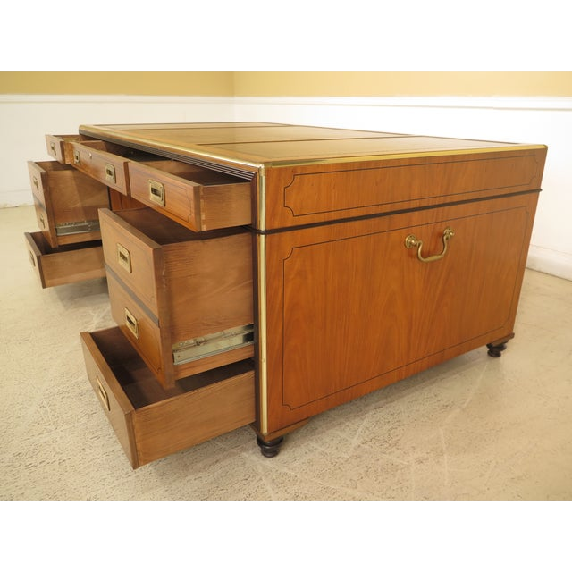 1970s Vintage Baker Satinwood Large Leather Top Executive Partner Desk For Sale - Image 9 of 14