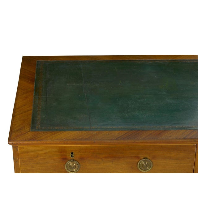 19th Century English Antique Mahogany and Leather Pedestal Desk For Sale - Image 6 of 13