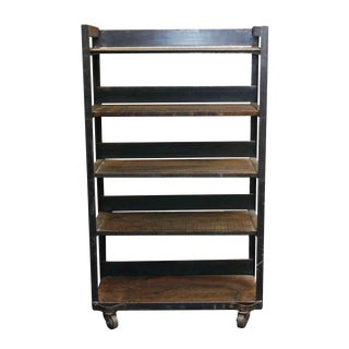 Traditional Steel Frame Rolling Cart or Bookcase For Sale