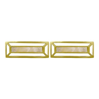 Addison Weeks McCoy Pull, Brass & Rose Quartz - a Pair For Sale