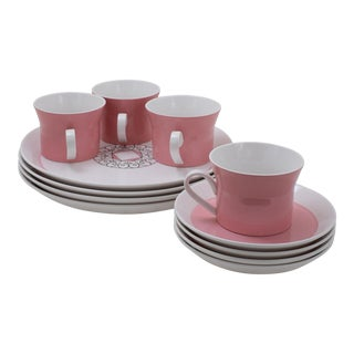 Vintage Ben Seibel Mikasa Duplex Pink Dish Set - 12 Pc. Set For Sale