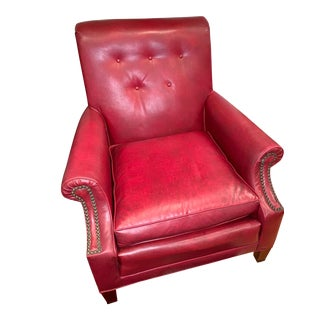 Vintage Mid Century Faux Red Leather Club Chair For Sale