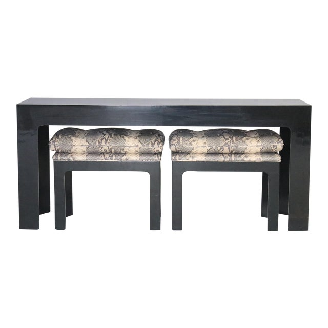 Parson Style Black Lacquered Console Table and Benches - Image 1 of 11
