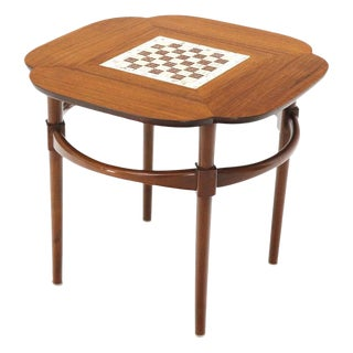 Clover Shape Checker Tile Top Walnut Side Table For Sale
