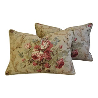 Custom Tailored English Cottage Rose/Velvet Feather/Down Pillows - Pair