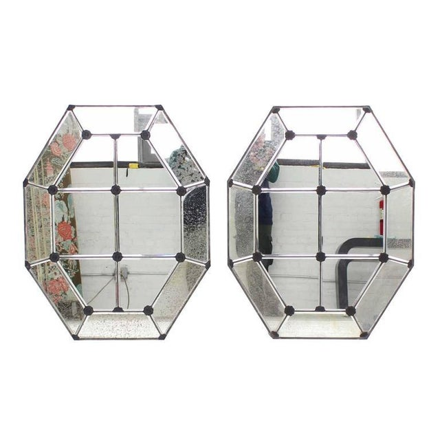 Pair of Large Octagon Wall Mirrors For Sale In New York - Image 6 of 8