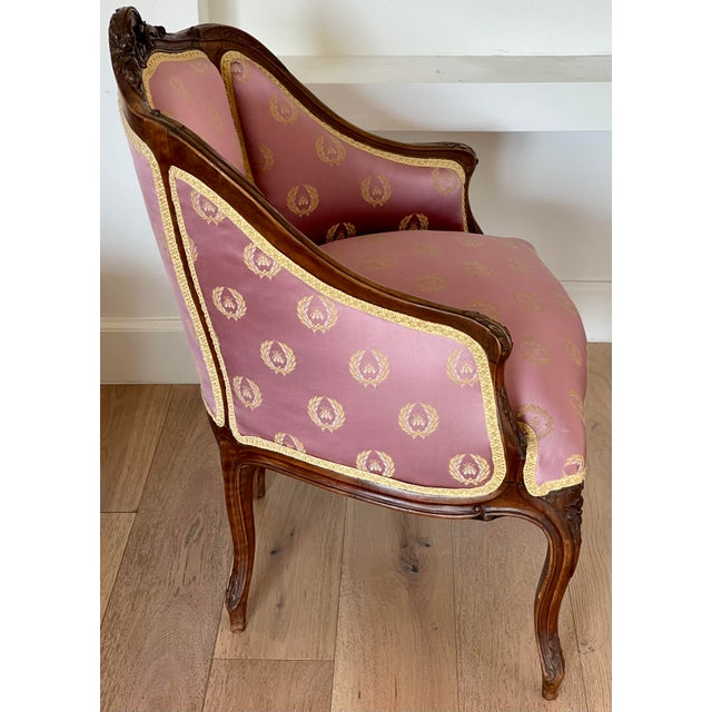 19th Century Antique French Provincial Vanity Stool W Napoleonic Bee Silk Fabric For Sale - Image 5 of 6