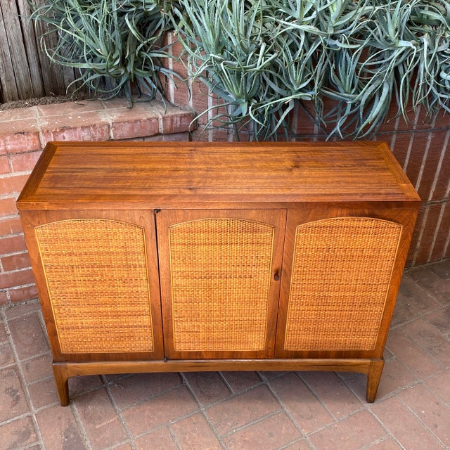 "Mid-Century Modern Lane ""Rhythm"" Walnut and Cane Cabinet For Sale - Image 9 of 10"