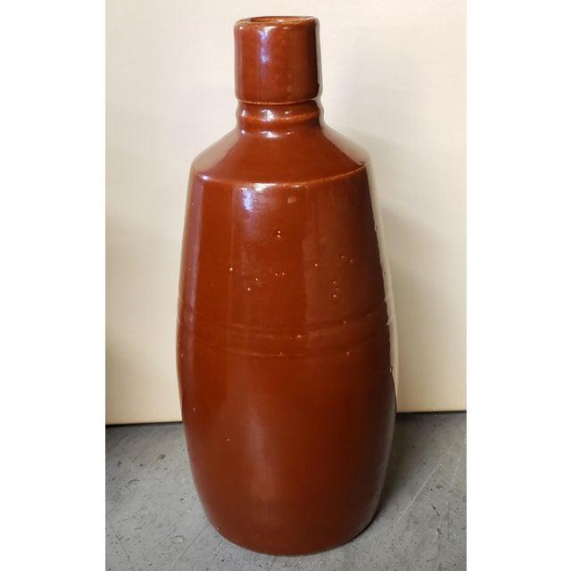 Mid 20th Century Reddish Brown Glazed Stoneware Bottle For Sale - Image 4 of 7