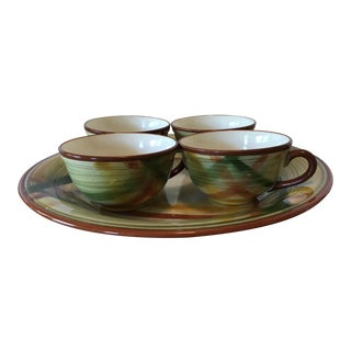 Californian Vernon Ware Homespun Pattern Tray and Cups - 5 Pc. Set