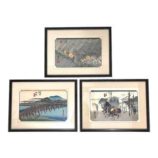 Vintage Framed Utagawa Hiroshige 53 Stations of the Tokaido Ukiyo-E Japanese Woodblock Prints - Set of 3 For Sale
