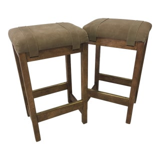 Pair of Drexel Heritage Suede BarStools For Sale