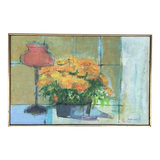 1960s Abstract Orange Mums Still Life Oil Painting, Framed For Sale