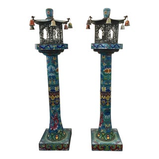 Asian Cloisonne Pagoda Incense Standing Lanterns, Pair