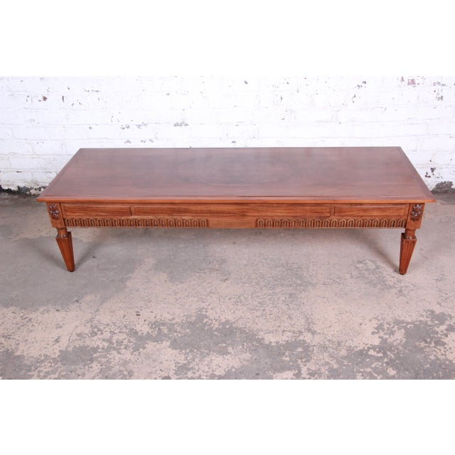 Baker Furniture Company Baker Furniture French Regency Louis XVI Style Burled Walnut Coffee Table, Newly Restored For Sale - Image 4 of 12