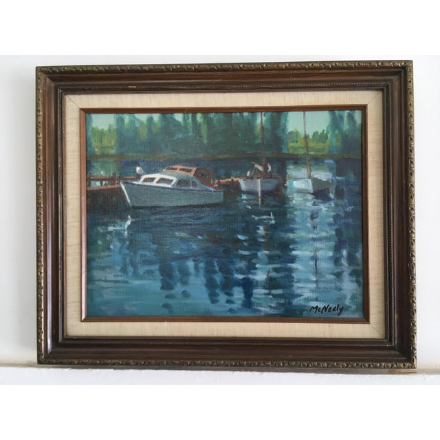 Blue Vintage Oil on Canvas Painting - Napa River For Sale - Image 8 of 8