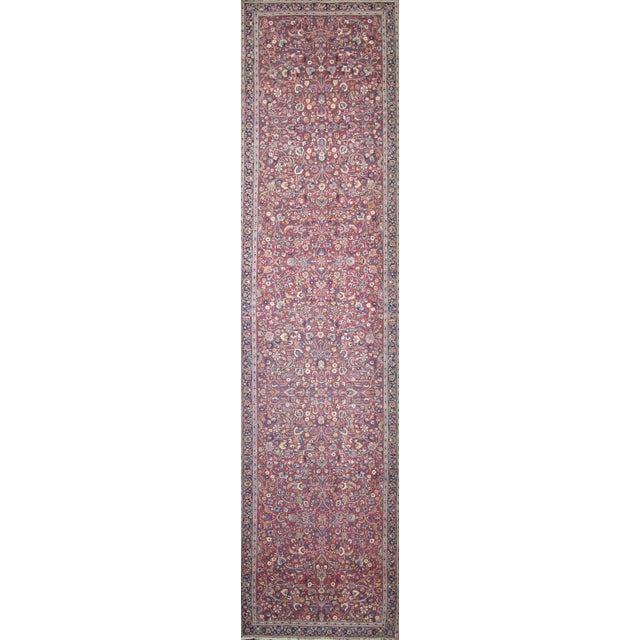 Textile Antique Persian Mashad Extra Long Hallway Runner- 5'7 X 22'00 For Sale - Image 7 of 9