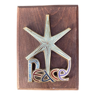 Mid 20th Century Brass Starburst Peace Wall Plaque For Sale