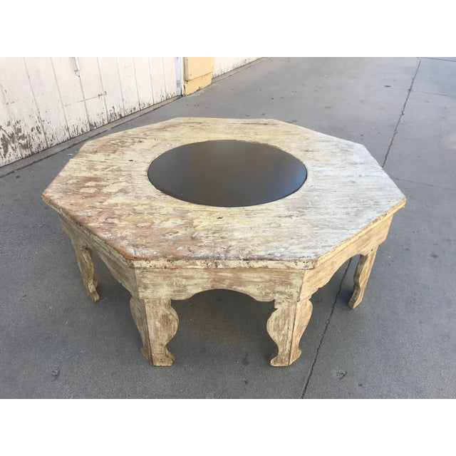 1930s Moroccan Distressed Wood Octagonal Coffee Table For Sale - Image 5 of 13