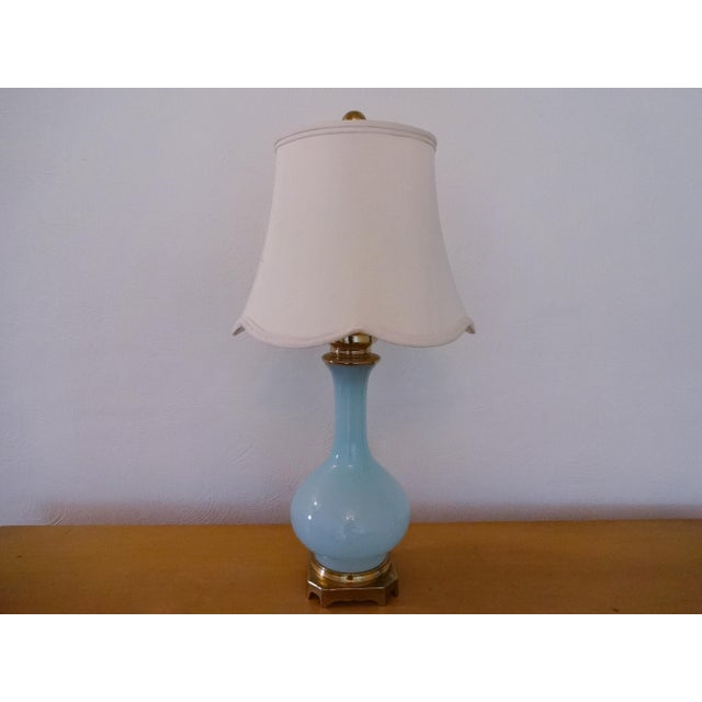 Turquoise Vintage Paul Hanson Opaline Glass and Brass Lamp For Sale - Image 8 of 8
