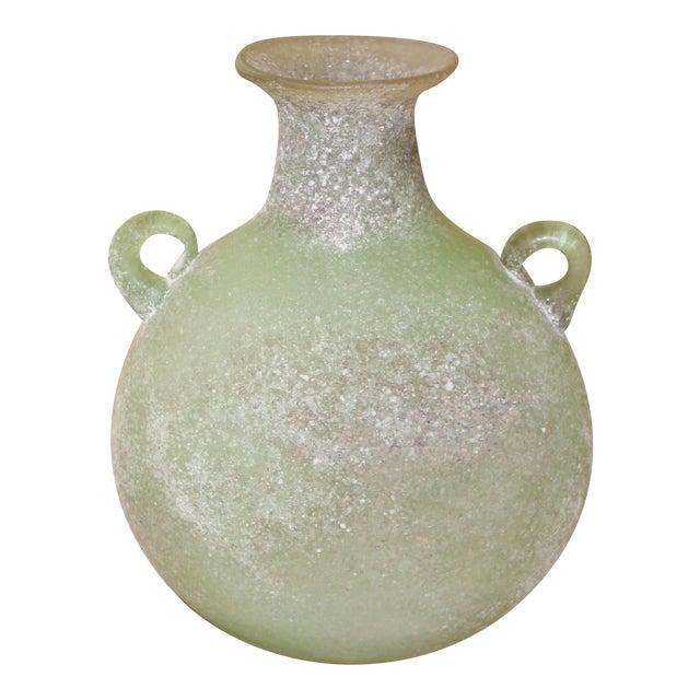 Seguso/ Cenedese Scavo Corroso Handled Green Vessel For Sale