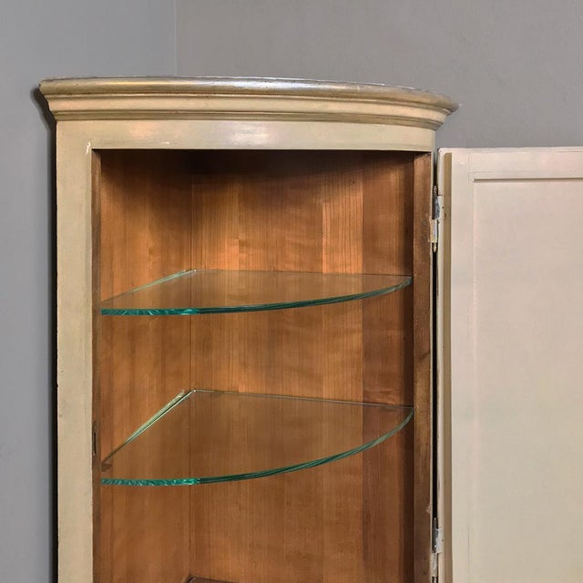 Gold Antique Italian Baroque Painted Corner Cabinet For Sale - Image 8 of 12