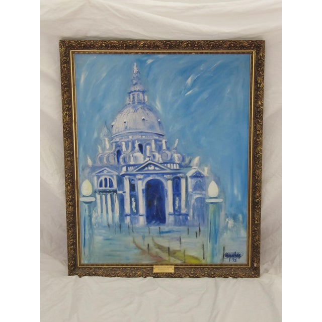 White Framed Vintage Painting of Venice For Sale - Image 8 of 8
