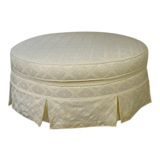 1970s Shabby Chic Ivory Damask Cocktail Ottoman For Sale