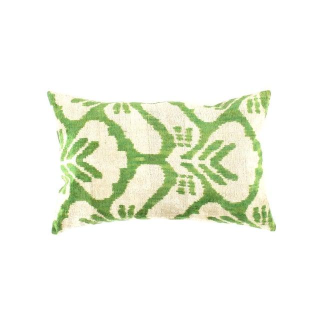 Turkish Pasargad Turkish Green Color Silk Ikat Pillow (Ti 188) For Sale - Image 3 of 3