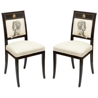 Ebonized Chairs with Embroidered Print - a Pair For Sale