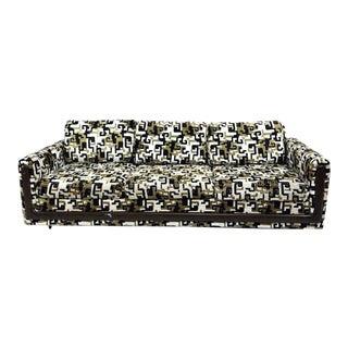 1960s Vintage Greek Key Black & Gold Velvet Custom Sofa For Sale