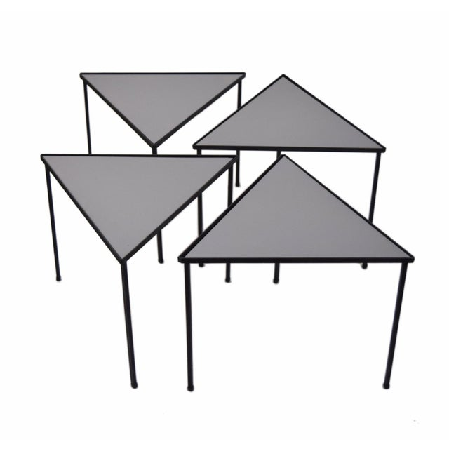 Black 1960s Mid-Century Modern Triangle Stacking Side Tables - Set of 4 For Sale - Image 8 of 8