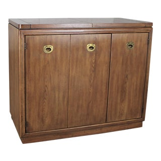 Drexel Heritage Mid-Century Campaign Style Rolling Dry Bar For Sale