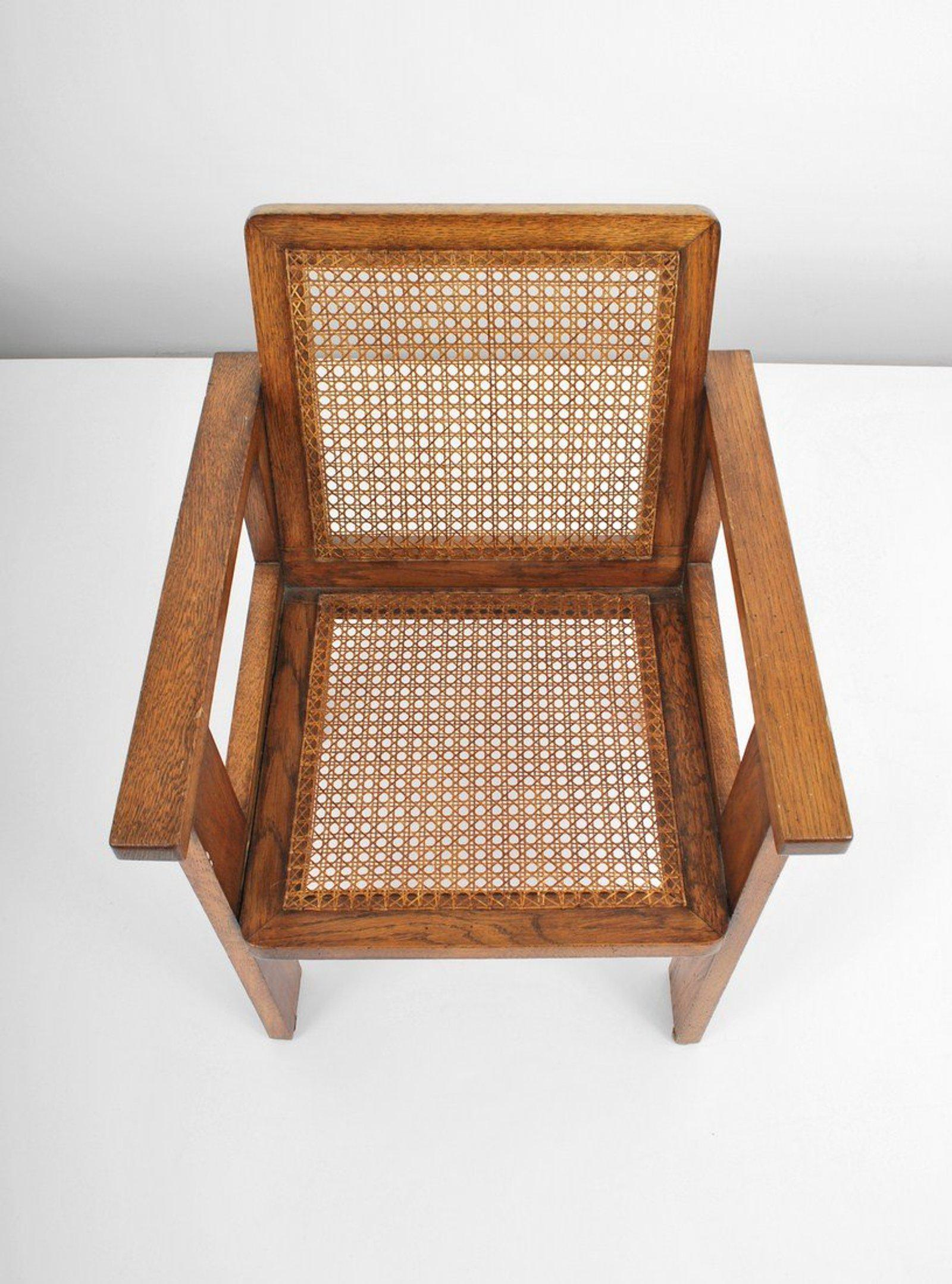 1930u0027s Oak Art Deco Arm Chairs With Caned Seats   A Pair For Sale   Image