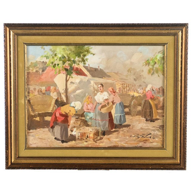 Gyula Nemeth -Women at an Outdoor Market- Hungarian Oil Painting C.1910 For Sale