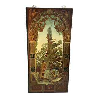 Vintage Maitland-Smith Asian Inspired Mural For Sale