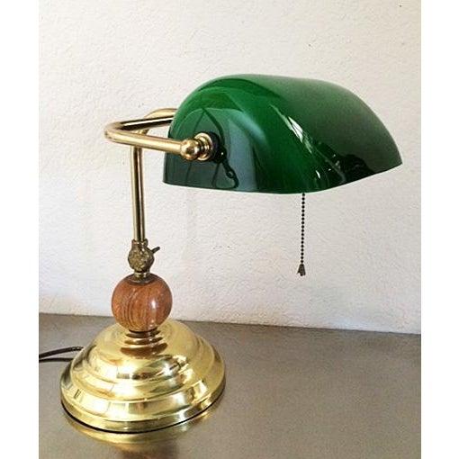 Vintage Brass & Emerald Green Glass Bankers Desk Lamp For Sale - Image 11 of 11