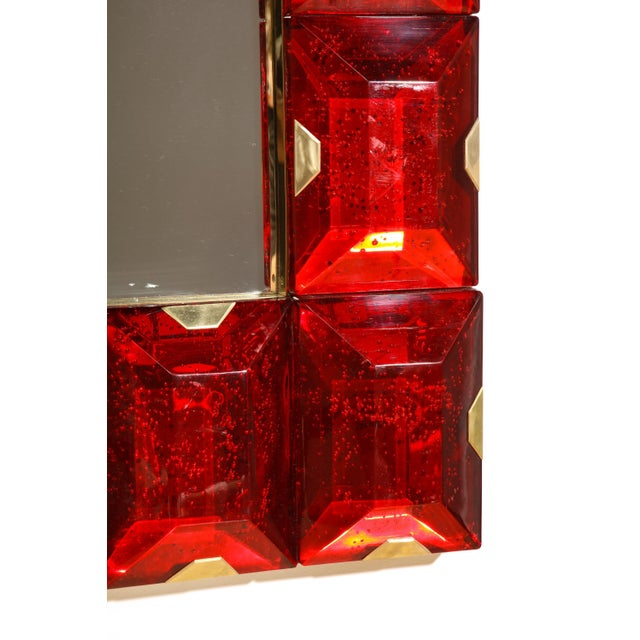 Red Large Murano Glass Block Mirror For Sale - Image 8 of 12