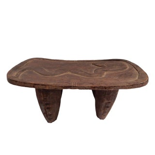 "Senufo Low Milk Stool W/Serpent14.5"" W by 7"" H"
